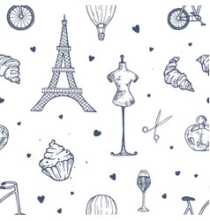 hand drawn seamless pattern with paris and france vector image