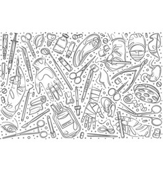 hand drawn surgery set doodle background vector image
