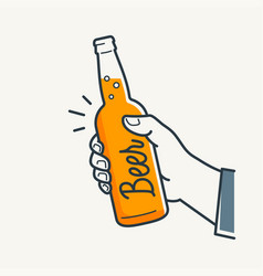 hand hold beer bottle male hand holding a beer vector image