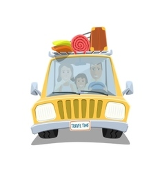 Happy family traveling in the car vector
