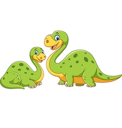 Happy mother with baby dinosaur posing isolated vector image