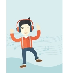 Happy young man dancing while listening to music vector