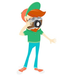 Hipster funny bearded man with camera flat style vector