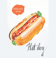 Hot dog watercolor vector