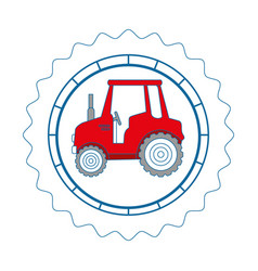 isolated tractor round icon vector image