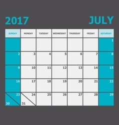 July 2017 calendar week starts on sunday vector
