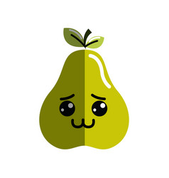 Kawaii cute shy pear fruit vector