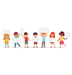 kids holding banners boy and girl vector image