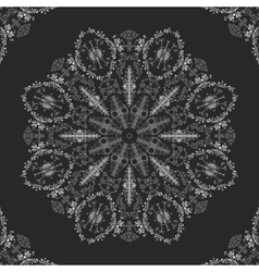 Lace doily mandala round ornament vector