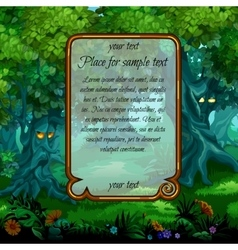 Landscape with mystical nature and frame for text vector