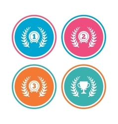 Laurel wreath award icons Prize cup for winner vector