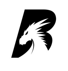 Letter b dragon head - black vector