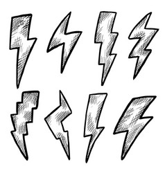 Lightning bolt black and white ink doodle sketch vector