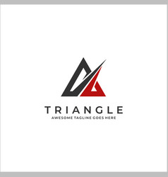 logo abstract triangle flat color line art style vector image