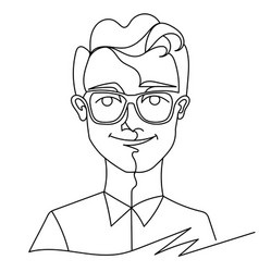 man in eyeglasses smiling portrait one line art vector image