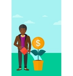 Man watering money flower vector