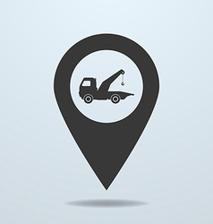 Map pointer with a wrecker symbol vector