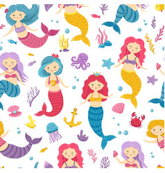 mermaid pattern printable underwater mermaids vector image