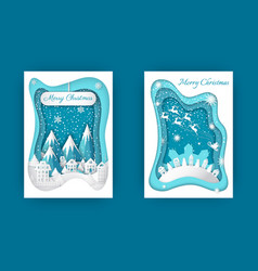 merry christmas paper cut winter holidays set vector image