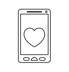 monochrome silhouette of smartphone with heart in vector image
