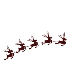 Monochrome silhouette with set of five reindeers vector