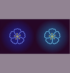 neon hawaiian flower in blue and light blue color vector image