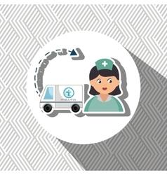Nurse cartoon ambulance help vector