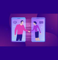online communication businesspersons shaking vector image