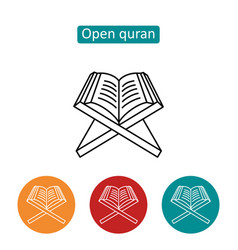 Open quran outline icons set vector