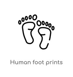 Outline human foot prints icon isolated black vector