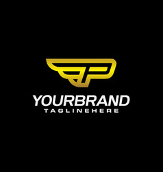 p winged logo vector image