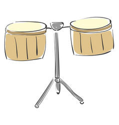 Painting percussion brown timbale drum vector