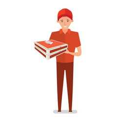 Pizza deliveryman accepts distributes orders vector