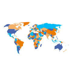 political map of world in four colors isolated on vector image