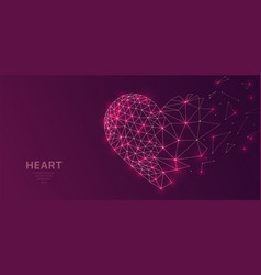 Polygonal wireframe mesh futuristic with heart vector