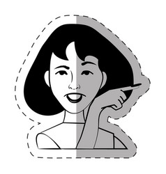 portrait female expression face vector image