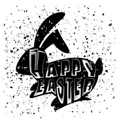 positive rabbit bunny silhouette happy easter vector image
