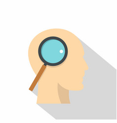 Profile head with magnifying glass icon vector