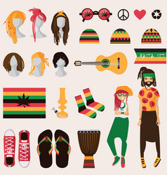 Rastafarian subculture couple young rastaman vector