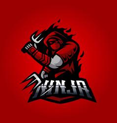 red ninja vector image