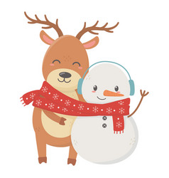 Reindeer and deer with scarf celebration merry vector