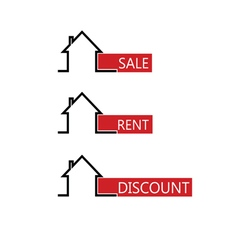 sale rent house color vector image vector image