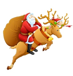 Santa on reindeer with Christmas gift vector image