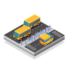 school bus on street parking lot vector image