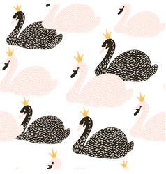 seamless childish pattern with black and white vector image
