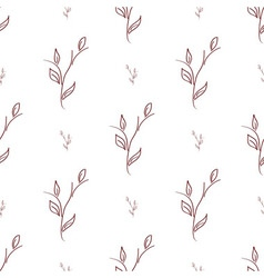 seamless of brown branches with leaves vector image