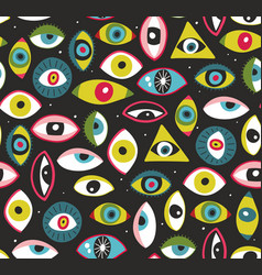 Seamless pattern with human eyes art vector