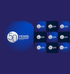 Set anniversary logo style with silver circle vector