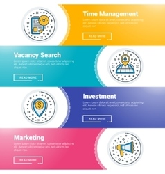 Set of flat line business website banner templates vector image