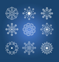 Set of white linear snowflakes vector